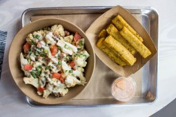 Cauliflower Rice Bowl & Polenta Fries at Shouk in Washington, D.C.
